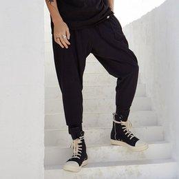 Japan mode hose männer online-Männer Japan Street Fashion Jogginghose Lose Beiläufige Hose Männliche Hip Hop Streetwear Jogginghose Dunkelschwarze Jogger Haremshose