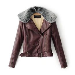 casaco do motociclista do colar da pele do falso Desconto Mulheres quentes de Inverno Quente Faux Jaquetas De Couro com Gola De Pele Senhora Branco Preto Rosa Motociclista Outerwear Casacos