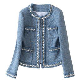 Chaqueta de lana prendas de vestir online-Chaqueta de tweed azul abrigo otoño mujeres abalorios de mezclilla de manga larga con flecos borde corto borlas básicas bolsillo prendas de abrigo chaqueta