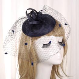 Véus de casamento azul-real on-line-Moda Preto / Azul Royal / Cinza / Bege Gaiola De Noiva Penas De Flores Glamourosa Noiva Casamento Chapéus Véus da Cara Acessórios Do Casamento