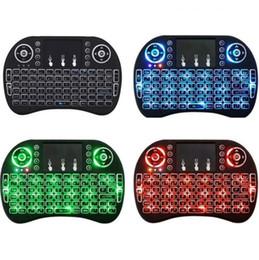 rii mini i8 batterie Promotion Mini rétroéclairage tricolore i8 clavier sans fil 2.4G souris air clavier télécommande tactile pavé tactile smart box Android TV