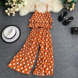 trajes de alta costura Rebajas 2019 verano nuevas mujeres moda conjunto correa punto doble volantes gasa Top estiramiento cintura Couture pantalones mujer trajes de dos piezas