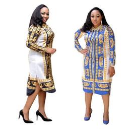 nuevos estilos de vestidos africanos Rebajas 2019 Nueva moda Africana Estampado Elástico Bazin Rock Estilo Dashiki manga completa Famosos vestidos medianos con cintura