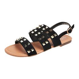 Sandali ragazze roma online-Vendita calda-SAGACE 2018 donna nuova estate sandali piatti Vintage ragazze traspirante Rivetti Open Toe fibbia piatta Roma Pantofole