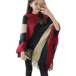 8cb9268bd wholesale ladies capes Coupons - Casual Women Sweater Poncho And Cape  Knitted Sweaters Tassel Pullover Striped