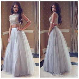 9e7e37ecba95 2019 Scoop Two Piece A-Line Junior Prom Dresses Beaded Top Customized Long  Vestidos De Soiree Cheap Evening Party Gowns Formal Special junior plus  size prom ...