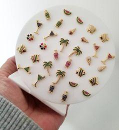 Orecchini di anguria online-2019 colorful summer beach orecchini nuovo design gioielli oro argento anguria palma wineglass carino bella orecchino della vite prigioniera per le donne