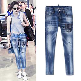 jeans de cintura baja para niñas Rebajas Cool Girl Sexy Jeans 2019 Cintura baja Apliques Patchwork Pierna delgada Dolor envejecido apenado Vintage mujer joven
