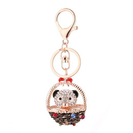 lovely bear jewelry Coupons - Lovely Bowknot Basket Bear Keychain Pendant Women Jewelry Key Ring Bag Decor