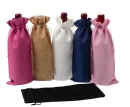 2019 papier d'emballage en argent 18 couleurs sacs à vin vin rouge couvre-bouteilles cadeau boîte de champagne sac de jute emballage sac de fête de mariage décoration sacs de vin dc174