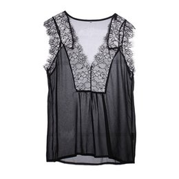 a2222085b38 Blusas Femininas Summer Women Blouse Lace Vintage Sleeveless White Crochet Casual  Shirts Tops