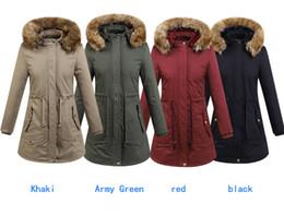 manteau d'hiver à capuche pour femme longtemps Promotion Vestes d'hiver pour femmes 4 couleurs long coton décontracté à capuche manteau Slim capuche en polaire manteaux chauds chapeaux de fourrure détachable long manteau