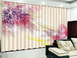 2019 moderne tende europee Curtain In Dreamy Lines, Beautiful Lotus, European Modern Exquisite Interior Curtains moderne tende europee economici