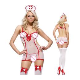 Uniforme de enfermeras de halloween online-Envío gratis nueva llegada Sexy Tutu enfermera Fancy Dress Ladies uniforme para mujer enfermera disfraz disfraz de halloween MÁS TAMAÑO