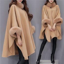 Женская одежда онлайн-Women Capes Cloak Fox Fur Neck Design Womens Winter Clothing Outerwear Tops Loose Fashion Coats Capes Ladies Wool Blends Coats S-3XL