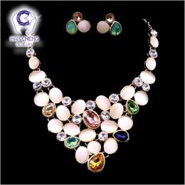 brincos estilo vintage boêmio verde Desconto HanCheng Moda Ligação de Ouro Colorido Opal Criado Colar de Cristal De Strass Brincos Para Conjuntos de Jóias Mulheres mais Collier
