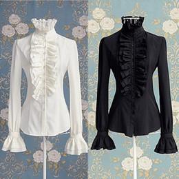 Rüsche hochhalsige bluse online-Viktorianische Frauen OL Büro Dame T-Shirt Tops High Neck Ruffle Manschetten Button Down Shirt Bluse