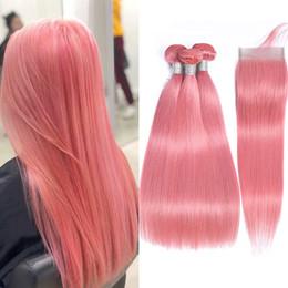2019 lula cabello humano Paquetes de cabello lacio rosa con cierre Belleza de color rosa Paquetes de armadura de cabello brasileño con cierre Remy Extensión del cabello humano
