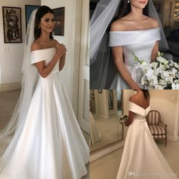 white ribbon charm Promo Codes - Charming Simple Garden Wedding Dresses 2019 Off Shoulder Ribbon Back With Button A Line Sweep Train Satin Bridal Gowns Cheap Customized