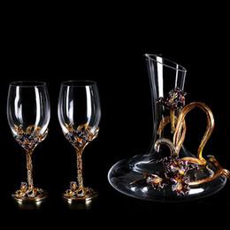 61ae3e343184 vasos de cristal Rebajas Nordic retro Esmalte Iris sin plomo copa de vino  tinto conjunto de