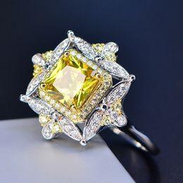 2020 tamaño del anillo topacio amarillo Lujo 925 Plateado Anillo de Topacio Amarillo Natural CZ Lleno Moda Mujeres Wedding Party Ring Tamaño 5-12 tamaño del anillo topacio amarillo baratos