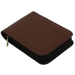 leder schreibwarenhalter Rabatt Füllfederhalter Roller Brown Leather Binder Case Holder Briefpapier für 12 Stifte