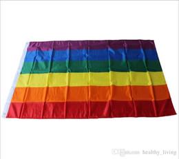parches de engranajes tácticos Rebajas 90 * 150cm bandera del arco iris gay no. 4 Bandera de orgullo LGBT Bandera de arco iris -Z087