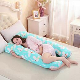 Almohada en forma de cuerpo online-Al por mayor-130 * 80CM Embarazo Cómodo forma de U Almohadas de maternidad Cuerpo de dibujos animados almohada del embarazo Mujeres embarazadas Side Sleepers cojín