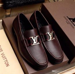 Chaussures de travail décontractées et respirantes en Ligne-Chaussures pour hommes d'affaires en cuir véritable 3 couleurs de luxe design haute qualité casual et affaires confortable respirant