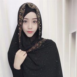 frauen baumwolle abaya Rabatt Frau Hijab Fest Farbe Rhinestone-Korn-Schimmer Silk Cotton Beliebte Schale Schal Stirnband Muslim Turban Abaya Diamanten
