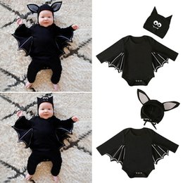 bat clothing Coupons - Retail 4 styles Baby Halloween Suit 2pcs outfits set bat(romper+cap) Toddle Infant long sleeve jumpsuit Rompers children clothing set