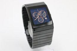2019 смотреть Роскошный топ-бренд полный высокое качество ограниченные мужские золотые часы хронограф TICHY высокое качество дата керамика черный циферблат кварцевые мужские платья часы