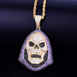 Collier pendentif pierre violette en Ligne-Sweat à capuche tête de mort pourpre pendentif en pierre collier de personnalité chaîne or argent glacé sur zircon cubique hip hop rock bijoux