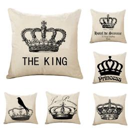 Almohadas hermosas online-1PC Throw Pillow Case Cushion Cool Beautiful Crown Algodón lino Cojín Pillow Case Home Wedding Almohadas decorativas