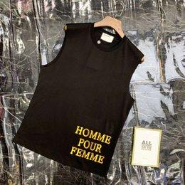 colete forrado de lã Desconto Nova marca de chegada das mulheres tanque tops designer para o verão sem mangas respirável roupas cotidianas com lantejoulas carta de duas cores m-2xl