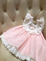 Vestito dal bambino del collare del fiore online-Abito senza maniche con scollo a V con scollo a barchetta e ricamo a fiori