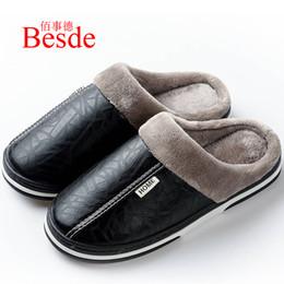zapatillas de casa de felpa Rebajas Zapatillas de cuero de moda para hombre zapatillas de felpa de interior más el tamaño 35-50 envío gratis zapatos de casa masculinos de casa cálida 2019