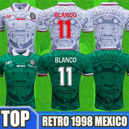 f55d9079f66 Thailand Quality 1998 Mexico World Cup Soccer Jerseys Classic Vintage Retro  Version Jersey Home Green HERNANDEZ BLANCO 11# football shirts discount 1998  ...