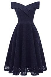 vestidos casuales Rebajas Vestidos de cóctel elegante vestido de fiesta formal Una línea de escote en V de encaje de las mujeres 2018 Vestidos cortos Vestidos de regreso a casa de las mujeres atractivas FS3545