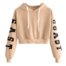 Femme sweat à capuche coréen en Ligne-Les femmes style coréen lettre imprimée à manches longues à capuche court Sweat-shirt Fashion Tops Chemisier Femme Chemises Casual