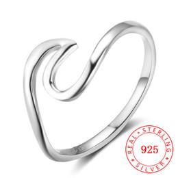 Anelli di barretta di modo per le ragazze online-2018 alta qualità moda Donna ragazza accessori gioielli heartbeat wave Real 925 anello dito argento sterling