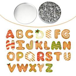 Cortadores de cookie letras on-line-26pcs a-z cartas de aço inoxidável conjunto de cortador de biscoitos biscoito cookies pastelaria molde
