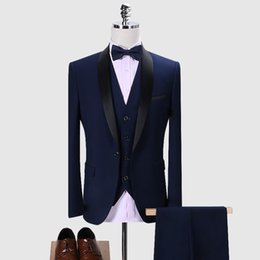 herren blauen anzug schwarzer kragen Rabatt Männer Anzug 2019 Hochzeit Anzüge Für Männer Schal Kragen 3 Stücke Slim Fit Anzug Herren Königsblau Schwarz Smoking Größe S-5XL Jacke