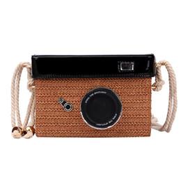 Diseño de mini cámara online-2019 Fashion Straw Camera Design Hombro Crossbody Bolsa Mujer Casual Mini Bolsa de Mensajero para Mujer Monedero Bolsa Flap
