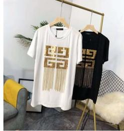 camisa de lentejuelas de oro negro Rebajas 2019 Negro / Blanco Algodón Camisetas de mujer y hombre Borlas de oro Lentejuelas Diseñador Camisetas Marca del mismo estilo Tops y camisetas 201904