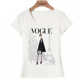 Tops girl s fashion online-Vintage Paris winter street fashion girl camiseta verano lindo mujer camiseta novedad casual ladies Tops hipster cool lady LWC46