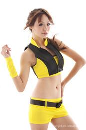 QX fabbrica diretta vendita uniforme seduzione modello di auto uniforme gioventù vitalità cintura gialla pantaloncini uniforme 8077 da