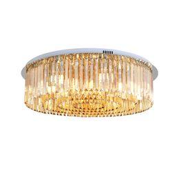 Montaje empotrado ámbar led online-Lámpara de araña de cristal de ámbar de montaje al ras de lujo de intensidad variable luces de araña de placa de cromo modernas lámparas de techo para sala de estar