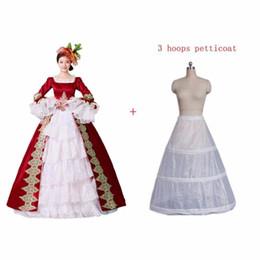 Vestiti di vestiario vittoriano online-Red Rococo Costumes Reenactment Gothic Victorian Dress Prom Gown Theatre Abbigliamento donna