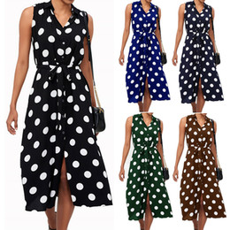 Vestito da partito di cocktail midi online-2019 Fashion Womens Designer Dress Donna Boho Polka Dot Lace-Up senza maniche Evening Cocktail Party Beach Split Dress
